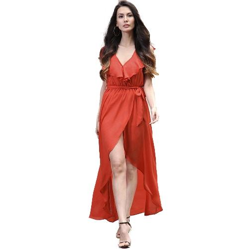 Sexy Frauen-Kleid mit tiefem V-Ausschnitt elastische hohe Taille Asymmetrische Rüschensaum Maxi-Kleid-elegantes Partei-Abnutzungs