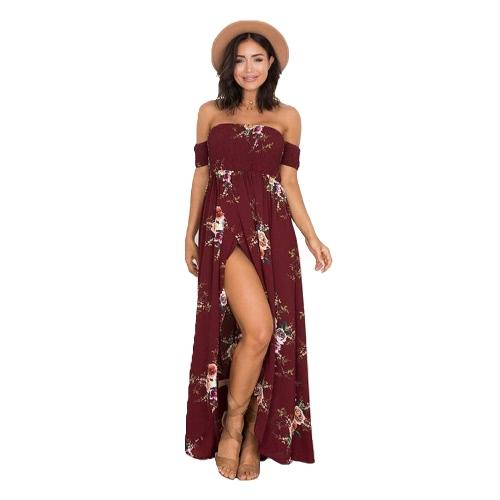 Sexy Shoulder Mulheres Boho Maxi Vestido Off Floral Imprimir Dividir Praia das férias de verão vestido longo branco / Borgonha / Bege