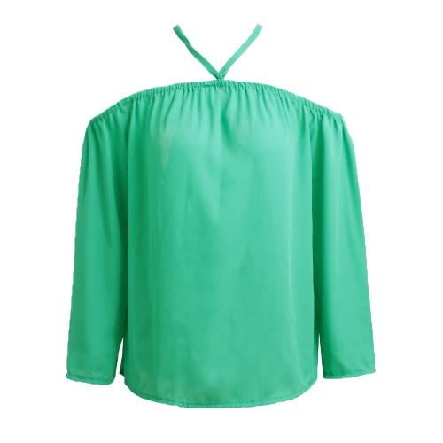 Nova ombro Sexy Mulheres Off Blusa Chiffon Halter manga comprida Casual solta camisa do verão T-shirt Tops