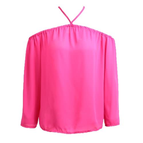 Nuevo hombro de las mujeres atractivas de la blusa de la gasa cabestro manga larga ocasional de la camisa del verano flojo de la camiseta Tops