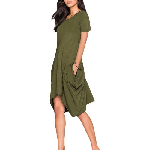 Bolsillos vestido de la manga nuevas mujeres sólido de corta cuello redondo Color dobladillo irregular del vestido ocasional
