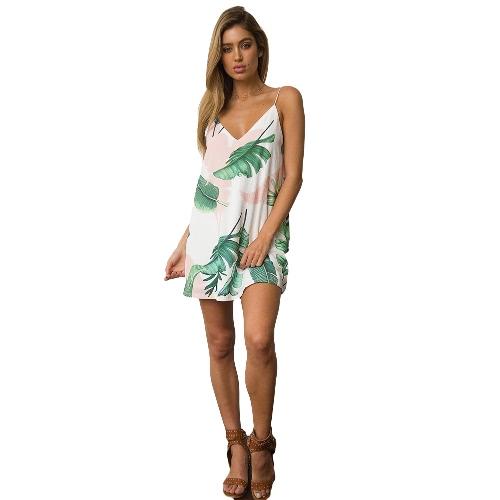 Vestido de las mujeres Cami contraste Hojas de impresión cuello en V sin mangas Mini ocasionales de la playa de días festivos del desgaste del club