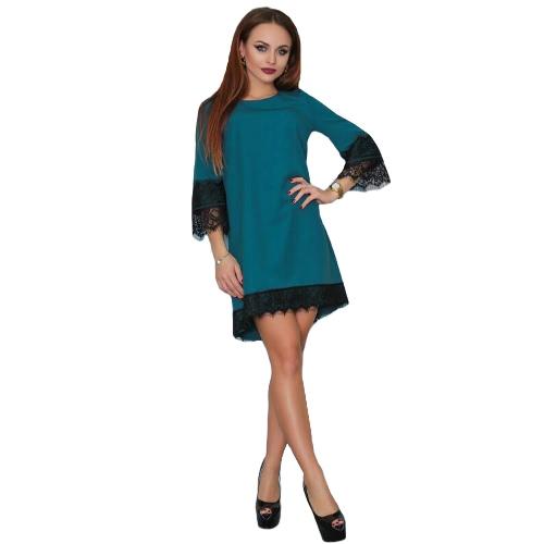 Vestido de fiesta de verano de las mujeres casual de cuello redondo de 3/4 del ajuste del cordón de la manga del mini vestido de Negro / Borgoña / verde