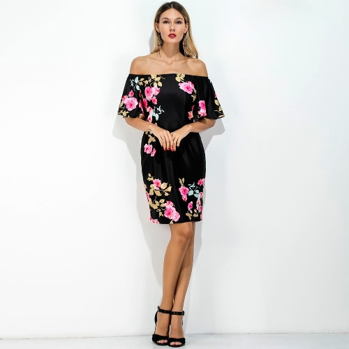 Sexy Women Mini Dress Vintage Floral Print Off Shoulder Short Sleeve Nightclub Party Pencil Dress Black