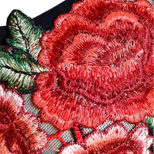 Las mujeres floral atractivo del bordado de malla mono del mamelucos cuello en V profundo Playsuit Mono Negro