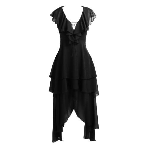 Femmes Robe asymétrique en mousseline de soie Plunge col en V Volants évider lacent Drapée swing en couches robe noire