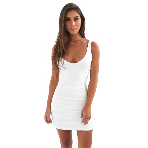 Las mujeres atractivas sin espalda vestido del tanque de la fiesta del club nocturno Vestido sin mangas del vestido del vendaje de Bodycon de la playa mini vestido del lápiz de verano