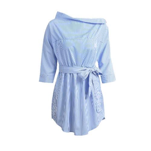 Slash neue Art und Weise Frauen-Streifen-Kleid Ausschnitt weg von der Schulter Halbarm beiläufiges Kleid Blau