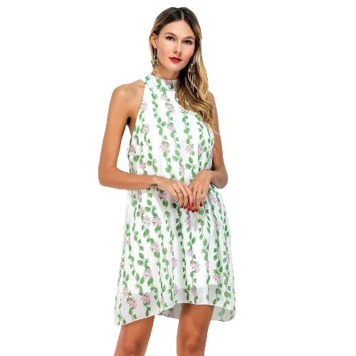 Kobiety Szyfonowa Sukienka Choker Floral Liście Drukuj Wysoka Neck bez rękawów z Luźne Fresh-line mini sukienka jasnozielony