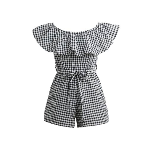Women Jumpsuit Off Shoulder Plaid Ruffle Coveralls Romper Playsuit Beachwear With Belt Black