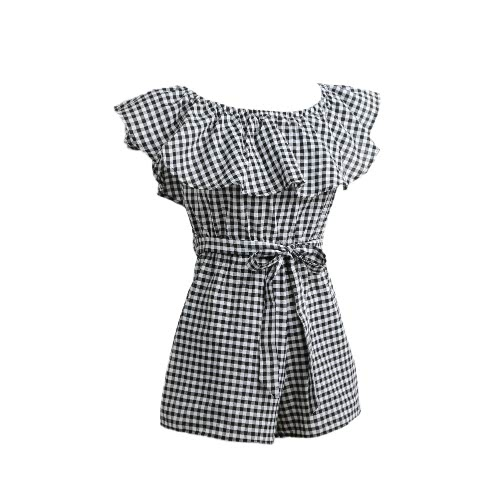Mulheres Jumpsuit Off Plaid Ruffle Coveralls Romper Playsuit Beachwear Com Cinto Preto