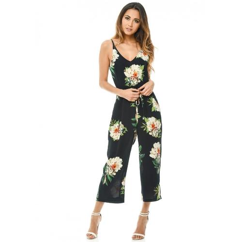 Nuevo atractivo de las mujeres de la correa del mono de la impresión floral con cuello en V sin espalda con cinturón de pierna ancha Boho Playsuit mamelucos azules