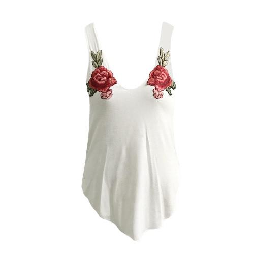 Sexy cultivos manera de las mujeres chaleco de la tapa floral bordado con cuello redondo sin mangas de la blusa ocasional