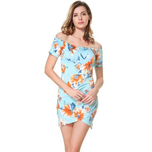 Frauen-Blumen weg vom Schulter-Kleid-Schrägstrich-Ansatz geraffte kurze Hülsen-rückseitige Reißverschluss-Minikleid-Blau
