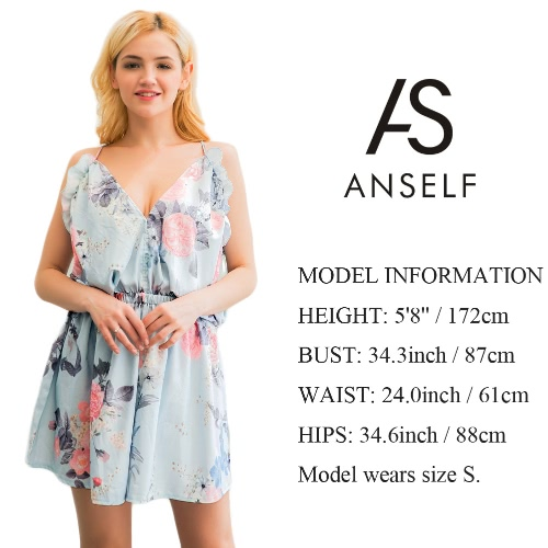 Sexy Women Jumpsuit Halter Floral Print V-neck Sleeveless Backless Casual Playsuit Rompers Light Blue