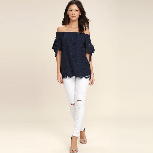 Verano atractivo de las mujeres de la raya vertical del cuello de la blusa superior ocasional de la camisa del cordón del hombro azul oscuro