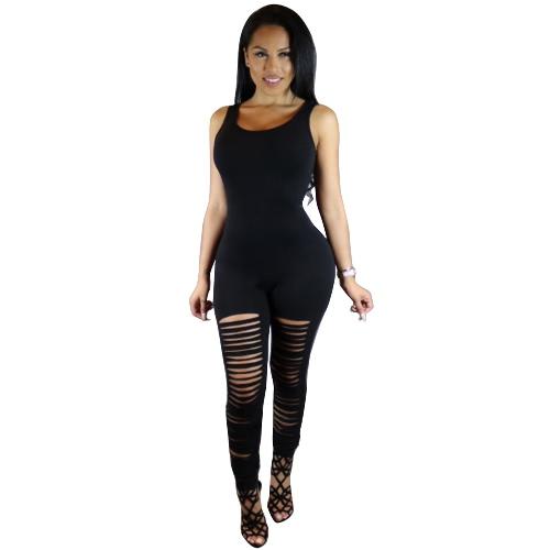 Senza maniche donne sexy aderente tuta strappato ritaglio Club Body pagliaccetti di un pezzo tutina pantaloni lunghi
