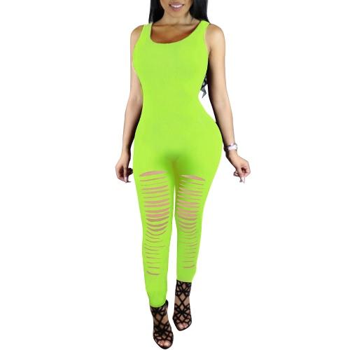 Mujeres sin mangas atractivo del bodycon del mono rasgado recorte del club del mono de los mamelucos de una pieza pantalones largos Playsuit