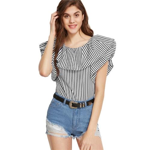 Frauen Rüschen Bluse Gestreiftes Hemd mit kurzen Ärmeln beiläufiges elegantes Top Schwarz