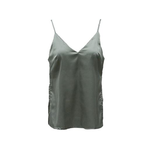Sexy Cami Mulheres Camisola Top Spaghetti Strap Mergulhando V-Neck Sólidos Casual Vest Casual Grey / Black