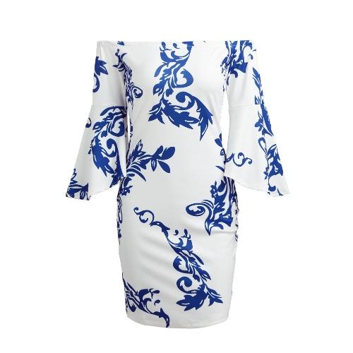 Las mujeres fuera del hombro vestido mangas de flare porcelana impresión Slash cuello de tres cuartos de manga de lápiz vestido blanco