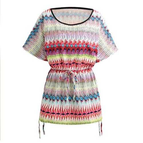 Las mujeres mini vestido atractivo flojo geométrica Imprimir O-cuello de manga corta con cordón ocasional de la playa vestido naranja