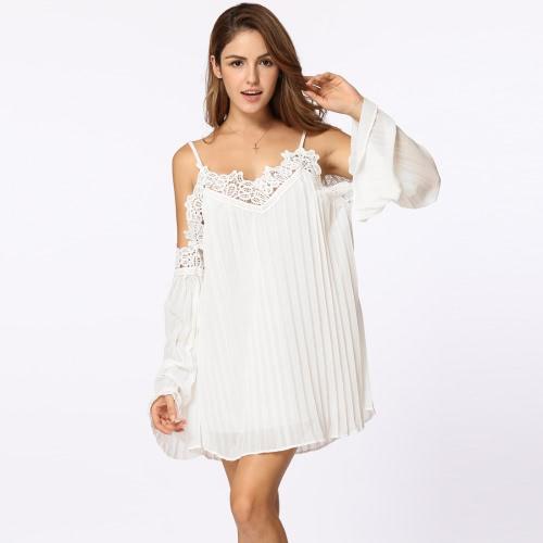 Boho mujeres plisadas vestido de gasa fría hombro de ganchillo encaje empalme manguito manga Mini playa partido de una pieza blanco / negro