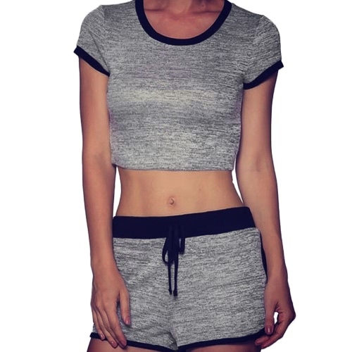 Mulheres Sport Yoga Set Cropped Manga Curta O-Neck Elastic Drawstring Cintura Stretch Fitness Suit 2 Pieces Sportswear Cinzento