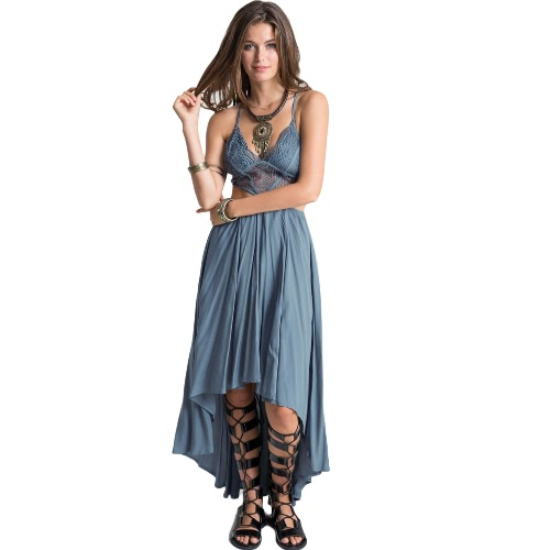 Sexy kobiety Hollow Out Maxi Sukienka Pasek Cross Deep V-Neck Beach Letnia Boho Long Dress Blue