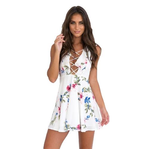 Neuer reizvoller Frauen-Minikleid-Blumendruck-Tauchen-V Ansatz Lace-Up gekräuseltes Sleeveless Sommer-Strand-Kleid-Weiß