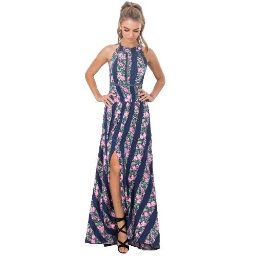 Vestido largo de la impresión del halter del vestido de las mujeres atractivas del halter de la impresión floral sin mangas Backless del verano de la playa del verano de la fractura sin mangas azul