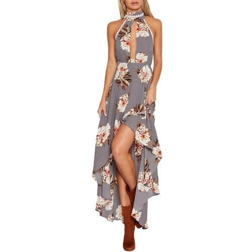 Sexy Frauen Maxi Sommerkleid Halfter Hals Blumen Print Backless Strand Asymmetrische Lange Kleid Grau