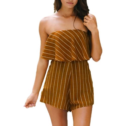 New Mulheres Verão Stripe Imprimir Playsuit Off Tops Ombro Beach Holiday Romper Jumpsuit Amarelo