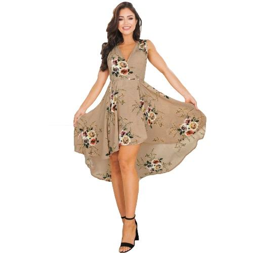 Novas Mulheres Boho Midi Vestido Floral Imprimir V Pescoço Sem Mangas Alta Baixa Verão Irregular Praia Vestido Khaki