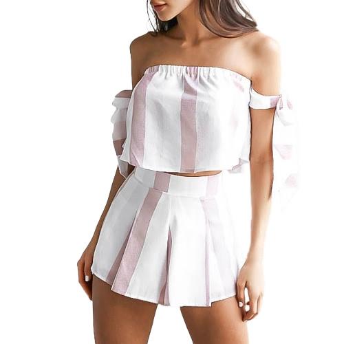 Nuevo traje de la raya del verano de las mujeres de la manga del arco del hombro