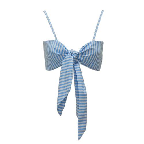 Cami de rayas de las mujeres Camisón de corte superior cosido Arco delantero Sin mangas vendaje Bralette Casual Top de cosecha Azul