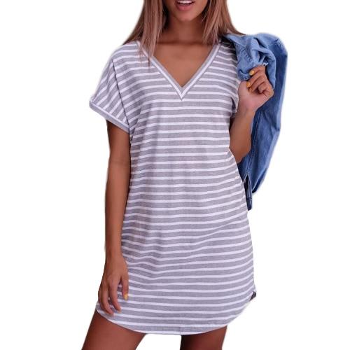 Nuevo vestido de las mujeres atractivas vestido rayado del V-Cuello Sleeves el vestido ocasional blanco / gris