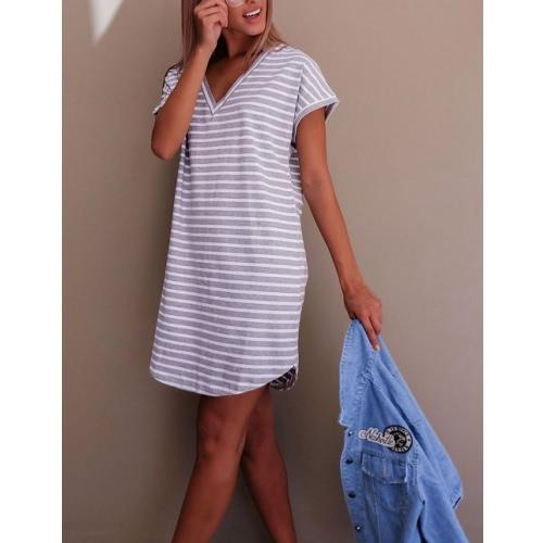 TOMTOP / Novo Sexy Mulheres Mini vestido listrado com decote em V mangas curtas vestido casual branco / cinza