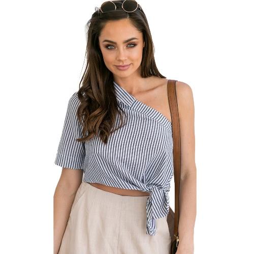 Mulheres Blusa Stripe Print Um Ombro Asymmetric Tie manga curta Casual Colheita Top Partywear Preto