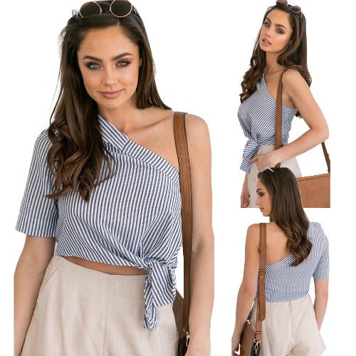 Women Blouse Stripe Print One Shoulder Asymmetric Tie Short Sleeve Casual Crop Top Partywear Black