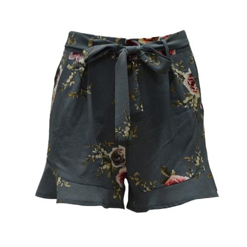Nuevas mujeres de impresión floral cortocircuitos de cintura alta Ruffle Ruched lado bolsillo cremallera con cinturón cortocircuitos de color caqui