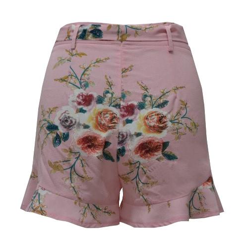 Новые женские флористические шорты для печати Высокая талия Ruched Ruched боковой карманный молния с поясом шорты Хаки фото