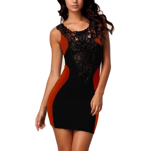 Moda mujer mini vestido de encaje floral sin mangas Bodycon vendaje Backless vestido de una pieza