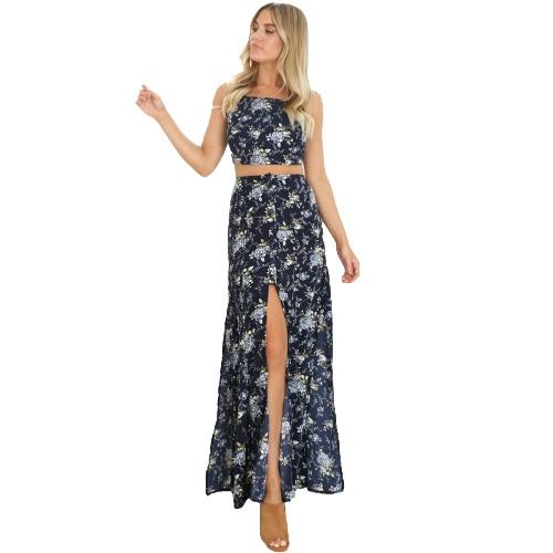 Vintage Kobiety Dwa Piece Set Crop Top Long Spódnica Floral Print Bez Rękawów Wysoki talii Boho Suknie Ciemnoniebieski