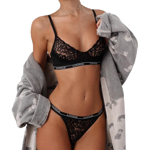 New Sexy Women Lingerie Set Semi-Sheer Lace Letter Printed Bra