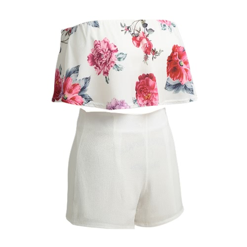 New Women Two Pieces Set Floral Print Crop Top Shorts Sleeveless Zipper Casual Top Pants White