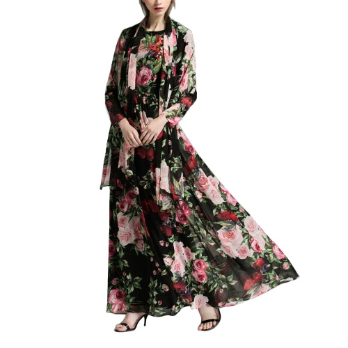 Vintage Mulheres Maxi Verão Vestido Flower Print Sheer Sleeve Boho Longo Vestido com lenço Preto