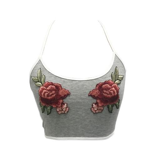 Las mujeres atractivas nuevas visten la blusa floral superior superior de la cucharada del halter del bordado de la cosecha del cuello La blusa corta ocasional sin mangas