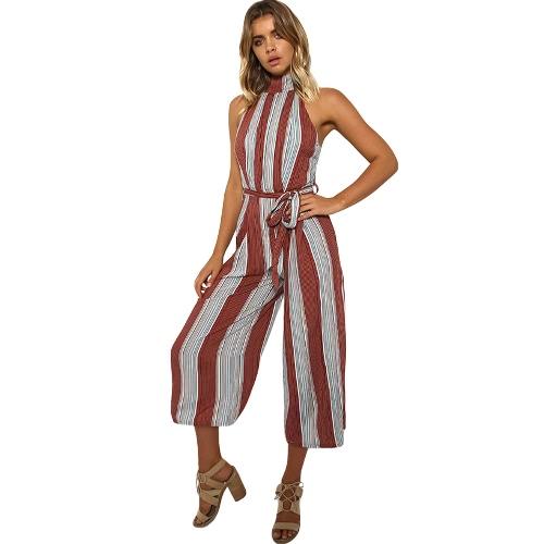 Las nuevas mujeres atractivas de la raya Jumpsuit Halter Backless cremallera Belted Wide Leg Rompers Playsuit Rojo