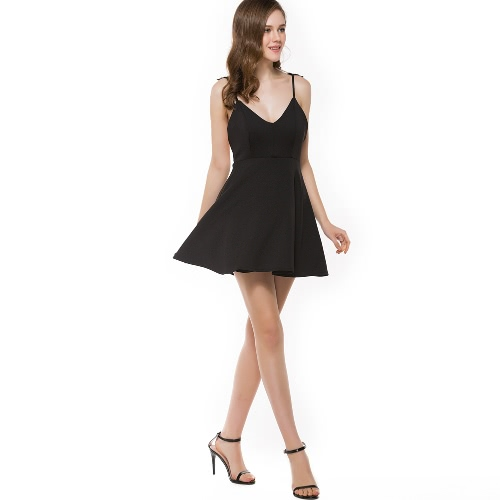 Sexy Women Dress Lace Angel Wings Dress Spaghetti Strap Backless Beach Slim Dress Black